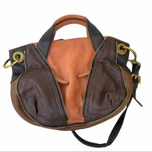 orYANY Italian Pebble Leather Satchel Bag Brown
